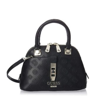 tas GUESS Peony Classic Small Dome Satchel hitam depan