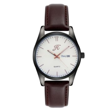 JH Mens Leather Brown White