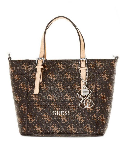 tas guess Delaney mini tote brown