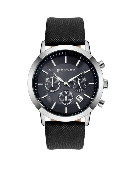 JH Mens Sporty Leather Black