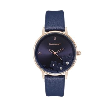 JH Ladies Lace Flower Leather Navy (8133)